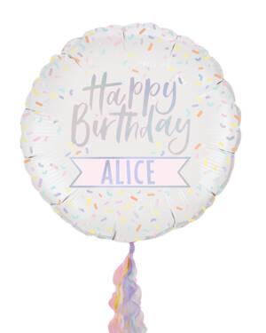 """Folieballong: M/personlig tekst og """"Happy Birthday"""" - 60cm"""