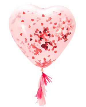 Konfettiballong / Lateksballong: Hjerteformet - 90cm