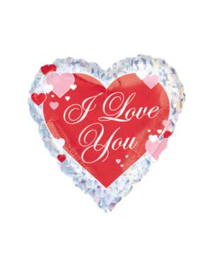 """Folieballong: Hjerte - """"I Love You"""" - 45cm"""