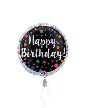 """Folieballong: """"Happy Birthday"""" - Fargerike prikker - Svart & Sølv - 43cm"""