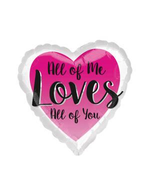 """Folieballong: Hjerte - """"All of Me Loves All of You"""" - 43cm"""