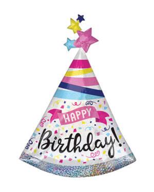 """Folieballong: """"Happy Birthday"""" med stjerner - Fargerik - Festhatt - 68 x 91cm"""