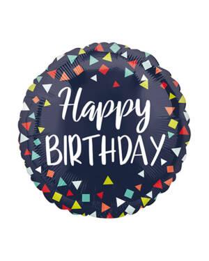 "Folieballong: ""Happy Birthday"" - Konfetti - Svart - 43cm"