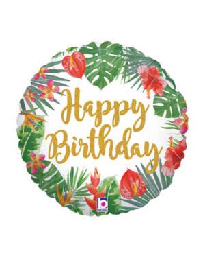 "Folieballong: ""Happy Birthday"" - Blader - 45cm"