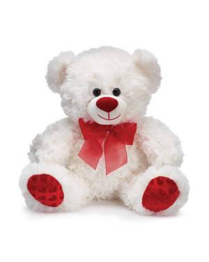 Bamse: Hvit Bjørn med Rød Sløyfe - 25cm