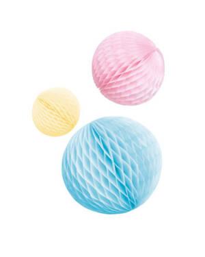 Honeycombs / Pomponger (3stk): Pastel Regnbue - 14cm / 18cm / 22cm