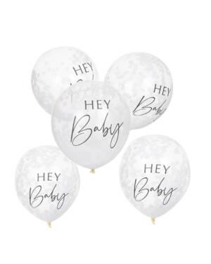 """Lateksballong (5stk): Konfettiballonger - """"Hey Baby"""" 30cm - Hvit"""