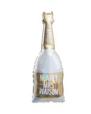 Folieballong: Champagneflaske - Gull - Personlig tekst - 106cm