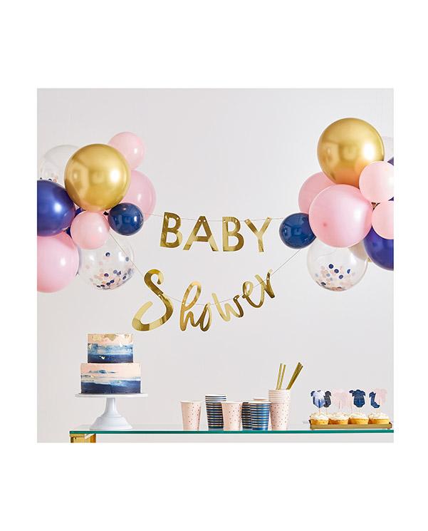 """Banner / Girlander & Ballongdekor: """"Baby Shower"""" - Rosa - 3m"""