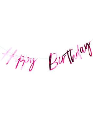 "Banner / Girlander: ""Happy Birthday"" - Rosa - 2m"