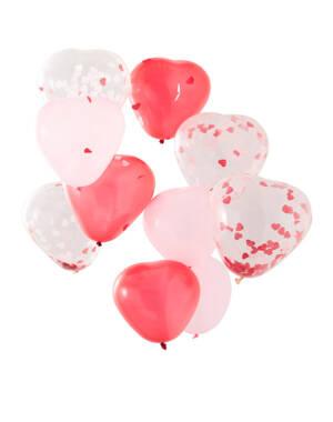 Lateksballonger / Konfettiballonger (10 stk): Hjerteballonger fylt med Hjerte konfetti - 30cm