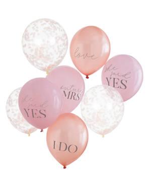 Lateksballonger & Konfettiballonger (8stk): Bryllup / Utdrikningslag - 30cm