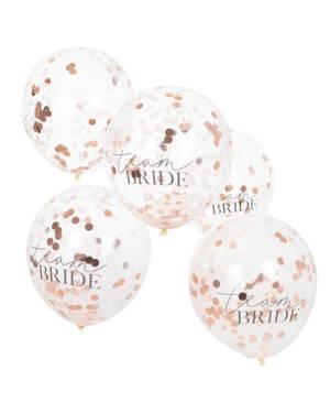 """Lateksballonger / Konfettiballonger (5stk): """"Team Bride"""" - 30cm"""