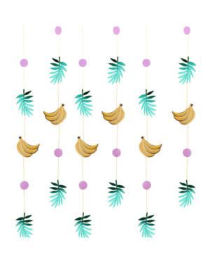 Backdrop / Girlander (6stk): Bananer og blader - 1,5m
