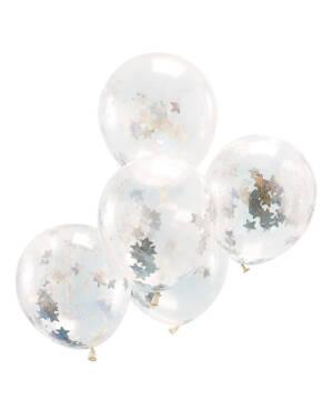 Lateksballonger / Konfettiballonger (5stk): Holografiske Stjerner - 30cm