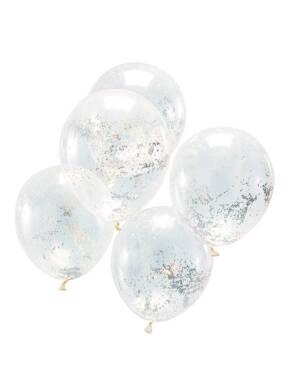 Lateksballonger / Konfettiballonger (5stk): Holografiske Glitter - 30cm