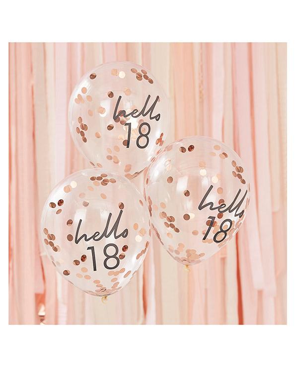 """Lateksballonger / Konfettiballonger (5stk): """"Hello 18"""" & Rosegull Konfetti - 30cm"""