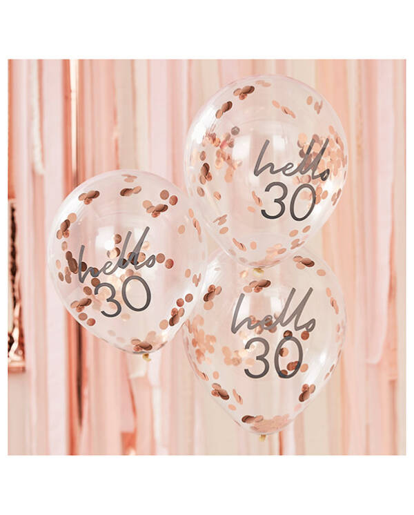 """Lateksballonger / Konfettiballonger (5stk): """"Hello 30"""" & Rosegull Konfetti - 30cm"""