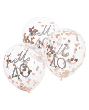 """Lateksballonger / Konfettiballonger (5stk): """"Hello 40"""" & Rosegull Konfetti - 30cm"""