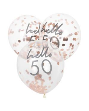"""Lateksballonger / Konfettiballonger (5stk): """"Hello 50"""" & Rosegull Konfetti - 30cm"""