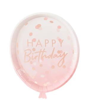 """Tallerkener (8stk): """"Happy Birthday"""" - Rosegold - 29 x 24cm"""
