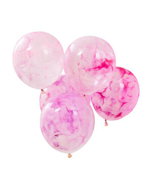 Lateksballonger (5stk): Rosa Marmorballonger (males selv) - 30cm