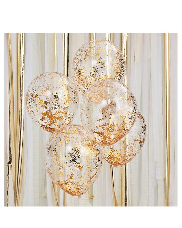 Lateksballonger / Konfettiballonger (5stk): Gull - 30cm