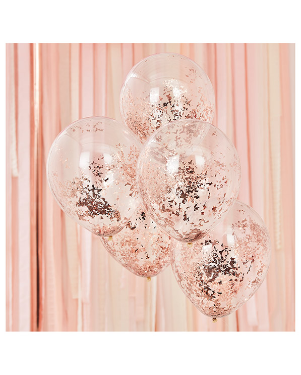 Lateksballonger / Konfettiballonger (5stk): Rosegull - 30cm