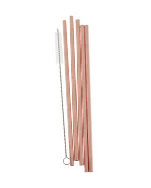 Sugerør (5stk): Metall - 21,5cm - Rosegull