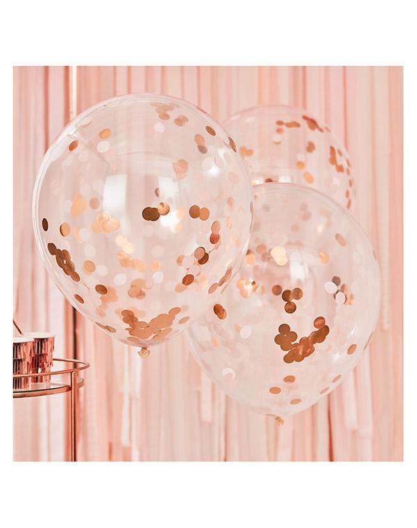 Lateksballonger / Konfettiballonger (3stk): Rosegull - 55cm