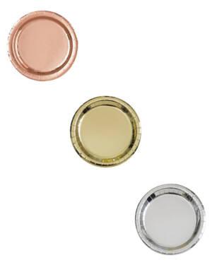 Tallerkener (8stk): Flere farger Metallic - 18cm