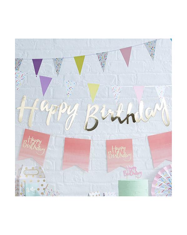 "Banner / Girlander:""Happy Birthday"" - Gull - 1,8m"