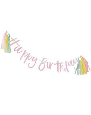 "Banner / Girlander & Tassels: ""Happy Birthday"" - Fargerik - 2m"