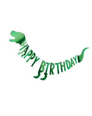 "Banner / Girlander: ""Happy Birthday"" - Dinosaur - 2m"