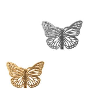 Merke (4stk): Sommerfugl med klype - 2,5 x 3,5cm