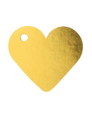 Navneskilt / Navnelapp (10stk): Hjerte - Gull - 4cm