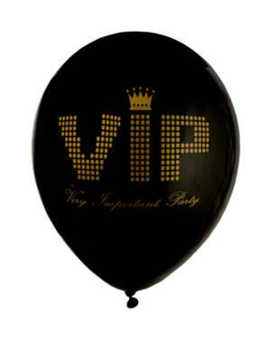 """Lateksballonger (8stk): """"VIP"""" - Gull & Svart - 23cm"""