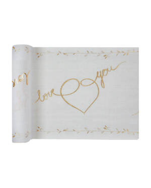 "Bordløper: ""Love You"" - Hvit & Gull - 3m x 28cm"