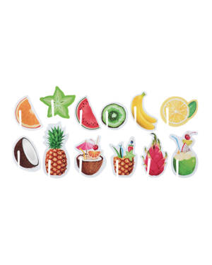 Merke (48stk): Fargerik Frukt - 4 x 6cm