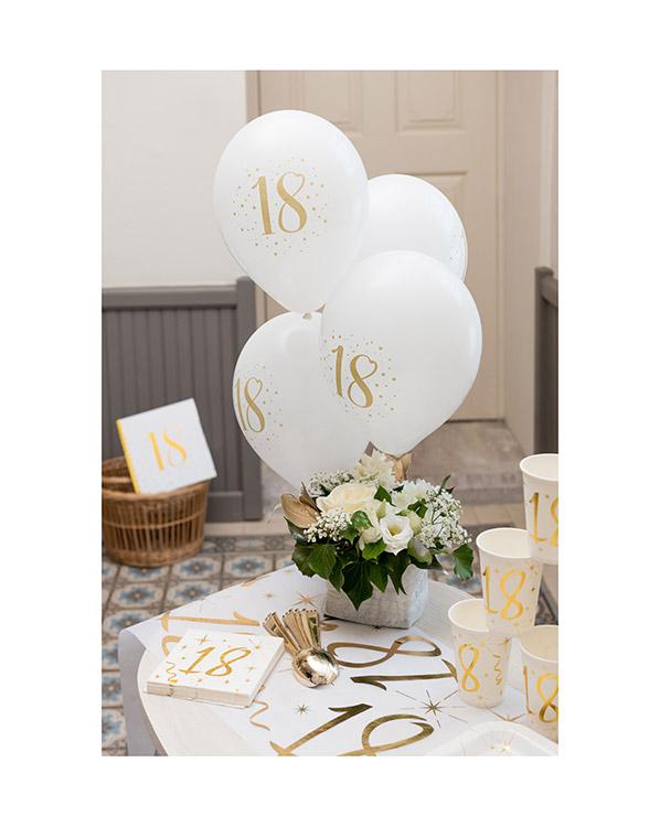 Lateksballonger (8stk): Gull & Hvit - 23cm