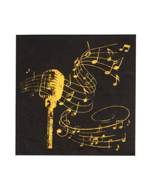 "Servietter (20stk): ""Music"" & Noter - Gull & Svart - 12,5cm"