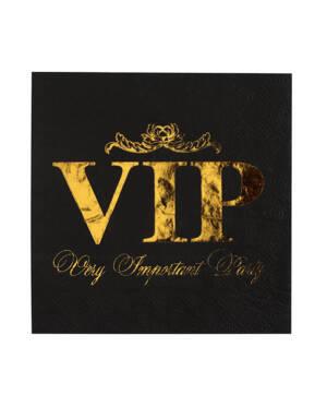 """Servietter (10stk): """"VIP"""" - Gull & Svart - 16,5cm"""