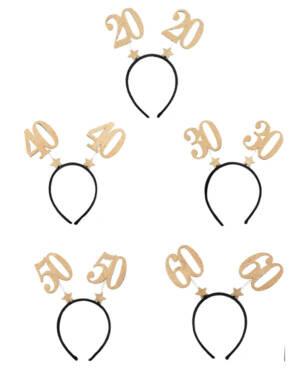 Hårbøye med tall: Gull & Glitter