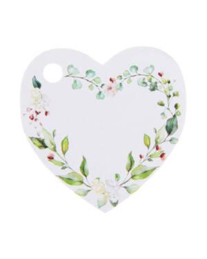 Navneskilt / Navnelapp (10stk): Hjerte - Grønne Blomster - 4cm
