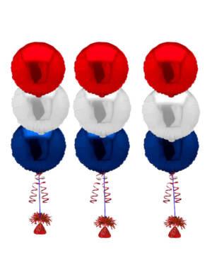 Ballongbukett: 17. mai Rødt, hvit & blått Folie Trio x 3