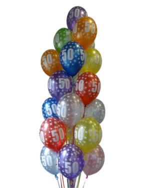 "Ballongbukett: Tall Regnbue - ""50"""