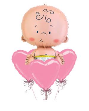 Ballongbukett: Babyhjerter - Rosa
