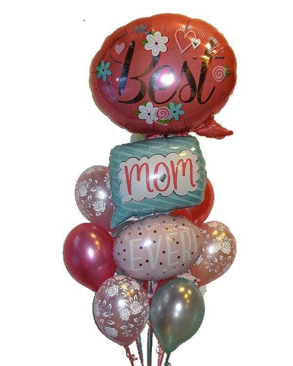 """Ballongbukett: """"Best Mom Ever"""" Roser"""