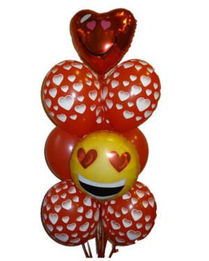 Ballongbukett: Emoji Hearts you!