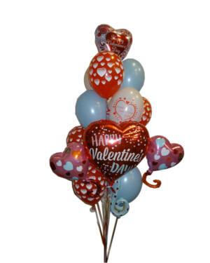 """Ballongbukett: """"Happy Valentine's Day"""" - Lyseblå"""